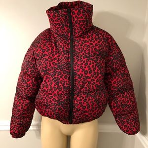 ASOS QED London Cropped Leopard puffer Jacket